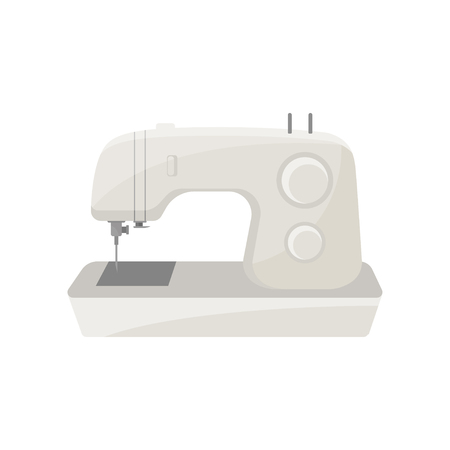 Modern portable electric sewing machine. Professional device for sewing or stitching cloth. Household appliance. Cartoon vector design. Colorful illustration in flat style isolated on white background