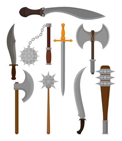 Set of different old weapon. Battle axes, knight swords and daggers, sabers and maces. Graphic elements for mobile game. Colorful vector illustrations in flat style isolated on white background.