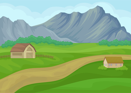 Country landscape with small house and barn, ground road, green meadows and large gray mountains on background. Beautiful natural scenery. Cartoon vector design. Colorful illustration in flat style.