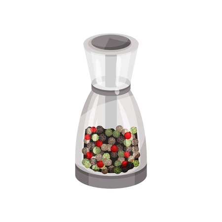 Transparent glass pepper mill filled pepper peas. Spicy condiment. Fragrant seasoning for food. Kitchen item. Colorful vector icon. Detailed illustration in flat style isolated on white background.