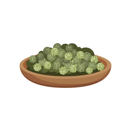 Wooden bowl of dried green peppercorns. Aromatic seasoning. Natural spice. Fragrant condiment. Flat vector icon