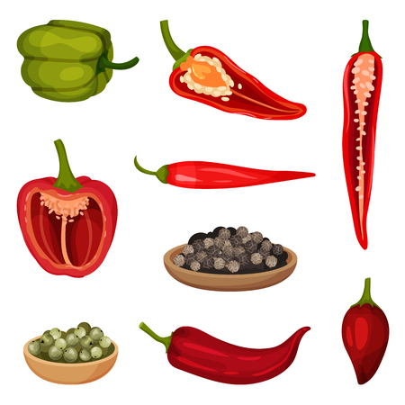 Collection of colorful pepper icons. Fresh vegetable and culinary condiments. Aromatic spice. Natural food. Organic product. Detailed vector illustrations in flat style isolated on white background. Иллюстрация
