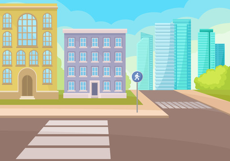 View on intersection of street with crosswalks and traffic sign, residential houses and modern office skyscrapers. Cartoon cityscape. Urban landscape. Colorful vector illustration in flat style.