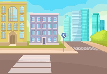 Widok na skrzyżowanie ulicy z przejściami dla pieszych i znakami drogowymi, domy mieszkalne i nowoczesne wieżowce biurowe. Gród kreskówka. Miejski krajobraz. Ilustracja wektorowa kolorowy w stylu płaski.