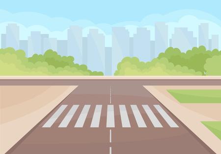 Vista sull'incrocio di traffico con attraversamento pedonale. Cespugli verdi, grattacieli e cielo blu sullo sfondo. Città moderna con grattacieli. Paesaggio urbano colorato. Disegno vettoriale dei cartoni animati. Illustrazione piatta.