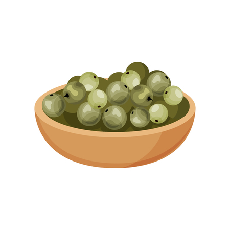 Colorful icon of wooden bowl of fresh green peppercorns. Natural spice. Aromatic condiment for food. Fragrant seasoning. Cooking ingredient. Detailed flat vector design isolated on white background. Illustration
