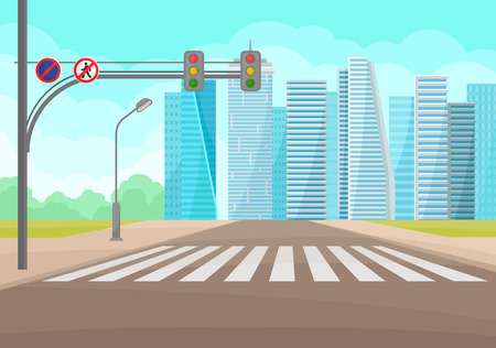 Modern cityscape with road, crosswalk, traffic signs and lights, high-rise buildings and blue sky on background. Urban landscape. Downtown area. Cartoon vector design. Colorful flat illustration.