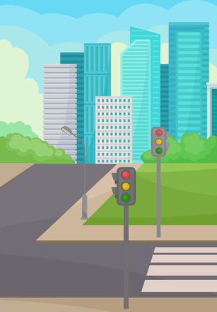Vertical illustration of city street with road, crosswalk and traffic lights, green meadow and bushes, high-rise buildings and blue sky on background. Colorful urban landscape. Flat vector design. Illustration
