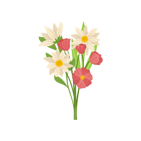 Gorgeous bouquet of colorful spring flowers with green leaves. Nature and botany theme. Graphic design for greeting card or poster. Detailed flat vector illustration isolated on white background.