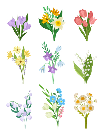 Collection of spring bouquets. Beautiful flowers. Garden plants. Nature and botany theme. Graphic design for postcard or book. Detailed vector illustration in flat style isolated on white background.