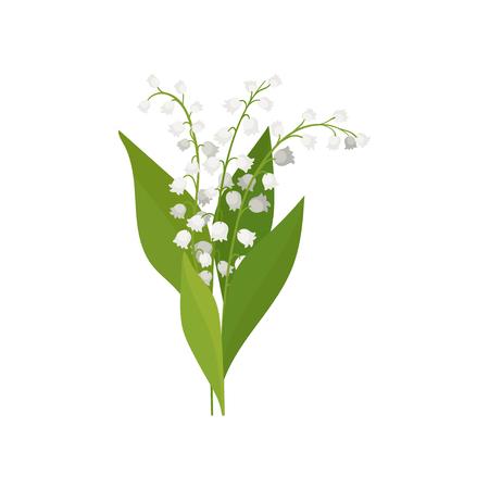 Maiglöckchen mit grünen Blättern. Bunter Frühlingsstrauß. Thema Natur. Grafisches Element für botanisches Poster oder Buch. Ausführliche Vektorillustration im flachen Stil lokalisiert auf weißem Hintergrund.