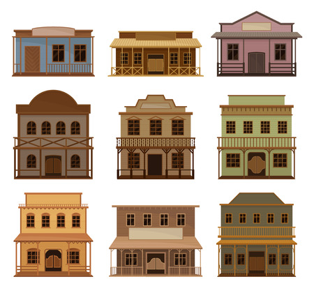 Flat vector set of wooden western houses. Old saloons with swinging doors and blank signboards. Historical buildings