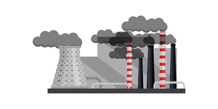 Front view on heavy industry factory. Large smoking chimneys and cooling tower, metal pipes and industrial building. Thermal power station. Colorful flat vector design isolated on white background. Illustration