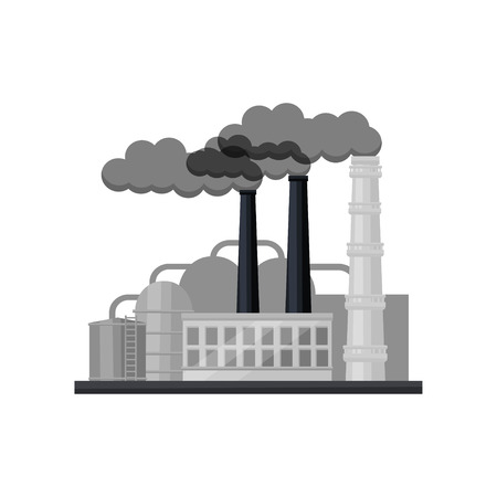 Large manufacturing factory with industrial building, smoking pipes and large steel cisterns. Heavy industry. Environmental pollution concept. Flat vector illustration isolated on white background.