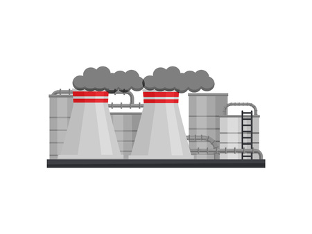 Landscape of manufacturing factory with metal cisterns and pipes, large chimneys with gray smoke. Heavy industry. Thermal power station. Colorful flat vector illustration isolated on white background. Vector Illustration