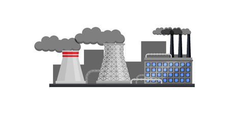 Front view on nuclear power plant with buildings and smoking pipes. Large manufacturing factory. Industrial architecture. Heavy industry. Colorful flat vector illustration isolated on white background