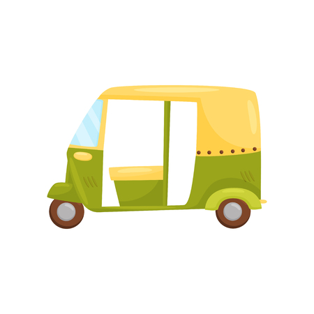 Icon of small green-yellow auto rickshaw, side view. Bajaj taxi or tuktuk. Traditional Bali transport. Public vehicle. Colorful flat illustration isolated on white background. Cartoon vector design.