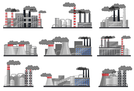 Set of manufacturing factories with buildings, smoking pipes and steel cisterns. Large metallurgical plant. Thermal power station. Industrial architecture. Isolated vector illustrations in flat style. Çizim