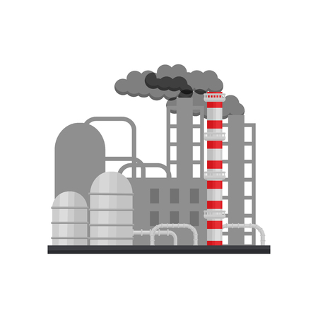 Modern manufacturing factory with building, smoking chimneys, steel pipes and large cisterns. Industrial architecture. Colorful vector illustration in flat style isolated on white background. Illustration