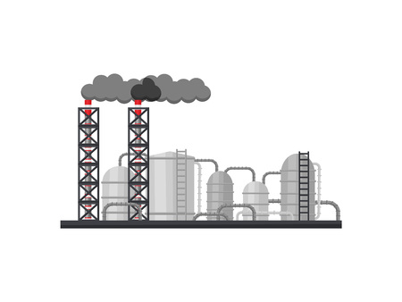 Illustration of large metallurgical plant. Manufacturing factory with long smoking chimneys, metal cisterns and pipes. Heavy industry theme. Colorful flat vector design isolated on white background. Çizim
