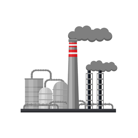 Industry factory with large steel cisterns and smoking pipes. Industrial zone. Metallurgical plant. Environmental pollution problem. Colorful flat vector illustration isolated on white background.