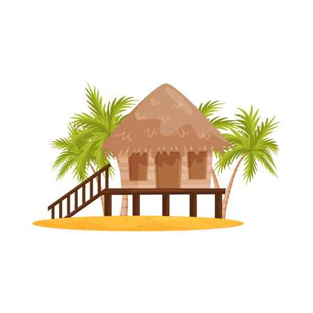 Beach bungalow with wooden porch and stairs, green palm trees on background. Balinese house. Flat vector design Vektoros illusztráció