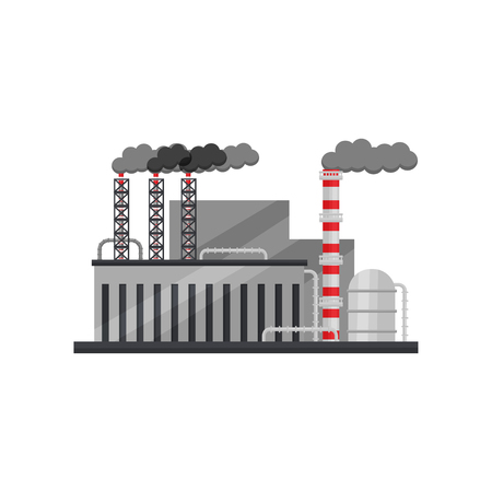 Factory of ferrous metallurgy. Manufacturing plant with industrial building, steel cistern and smoking pipes. Heavy industry. Colorful vector illustration in flat style isolated on white background.