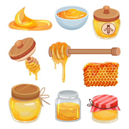 Set of colorful honey icons. Organic and healthy product. Jars, bowl and dippers. Natural sticky liquid. Sweet food. Cartoon vector design. Illustrations in flat style isolated on white background.
