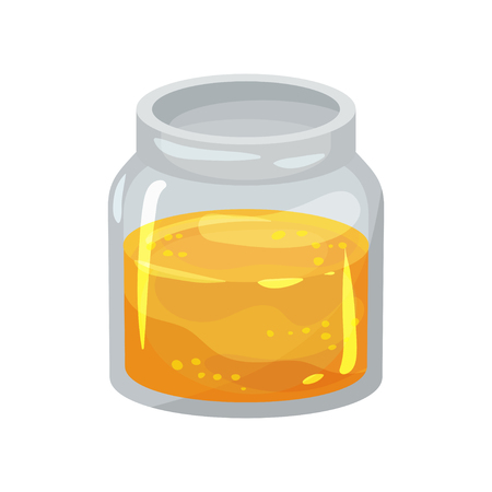 Small open glass jar with fresh honey. Natural product from apiary farm. Sweet and healthy food. Graphic design for promo poster or banner. Colorful flat vector design isolated on white background.