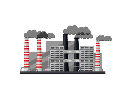 Exterior of industrial factory with buildings, smoking chimneys and metal pipes. Large metallurgical plant. Graphic element for infographic about environmental pollution. Isolated flat vector design. Çizim