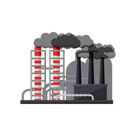 Landscape of manufacturing factory with metal pipes and smoking chimneys. Thermal power plant. Industrial zone. Environmental pollution. Colorful flat vector illustration isolated on white background.
