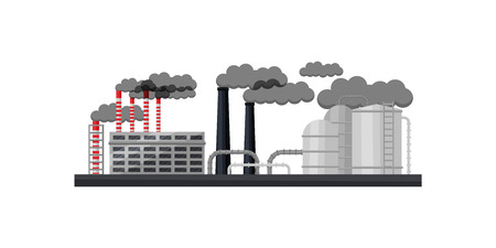 Industrial building, smoking chimneys, metal pipes and large cisterns. Landscape of manufacturing factory. Environment pollution, dirty air. Flat vector illustration isolated on white background.