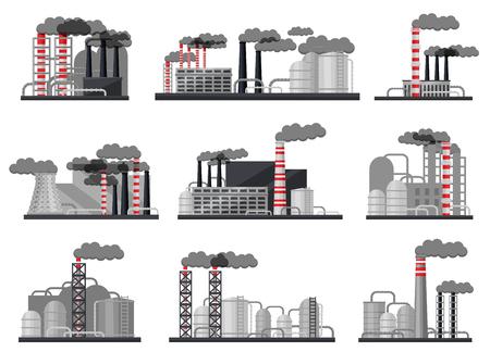 Satz moderner Fertigungsfabriken. Industriearchitektur. Kraftwerke mit Gebäuden, großen Metallzisternen und Pfeifen. Schwerindustrie. Flaches Vektordesign isoliert auf weißem Hintergrund.