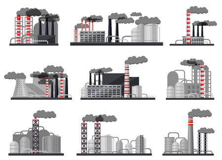 Set of modern manufacturing factories. Industrial architecture. Power plants with buildings, large metal cisterns and smoking pipes. Heavy industry. Flat vector design isolated on white background.