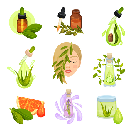 Collection of natural cosmetic icons. Bottles of essential oils, jar of lotion. Organic skin care products. Health and beauty theme. Colorful flat vector illustrations isolated on white background. Vektoros illusztráció