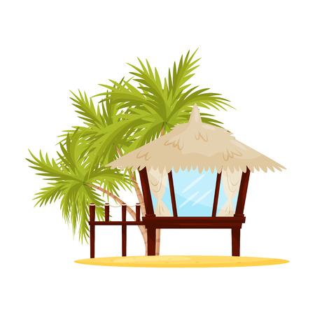 Small beach house with big windows. Tropical wooden bungalow and green palm trees on background. Flat vector design Vektoros illusztráció
