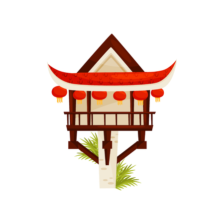 One pillar pagoda decorated with traditional red lanterns. Historic Buddhist temple in Hanoi. Travel to Vietnam. Famous tourist attraction. Flat vector illustration isolated on white background.