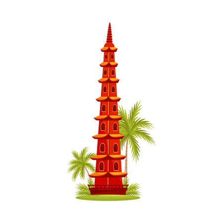 Tran Quoc Pagoda in Hanoi. Famous architecture. Tourist attraction. Travel to Vietnam, Asia. Graphic element for postcard or poster. Colorful vector icon in flat style isolated on white background. Ilustração
