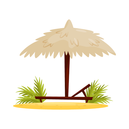 Wooden chaise lounge, umbrella and green leaves on sand. Beach vacation. Summer holiday in Vietnam, Asia. Cartoon vector design. Colorful illustration in flat style isolated on white background.