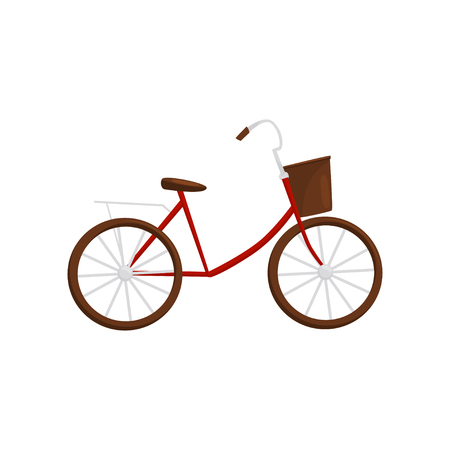Red bicycle with brown basket, side view. Popular Vietnamese transport. Vehicle with two wheels. Flat vector design
