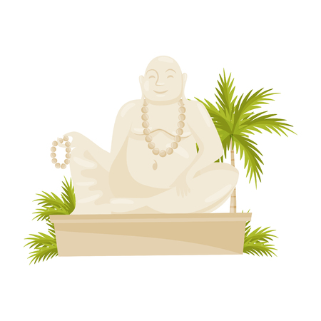 Giant laughing Buddha statue, green palm tree and leaves. Cultural symbol. Old historical monument. Flat vector design