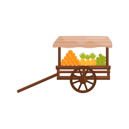 Old wooden street cart with fresh tropical fruits. Balinese food. Market stall on wheels. Flat vector design Illustration