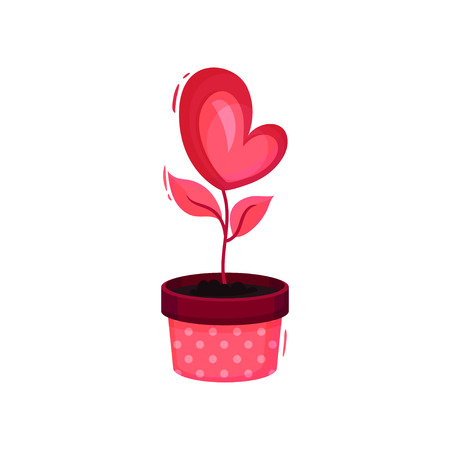 Cute heart-shaped pink flower with small leaves growing out of pot. Love plant. Graphic element for Valentines day postcard. Colorful vector illustration in flat style isolated on white background.