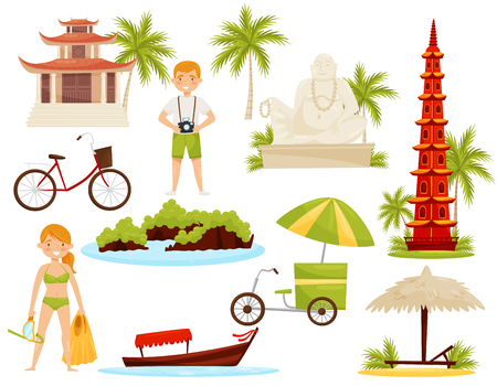Set of Vietnamese cultural objects. Famous landmarks and historical monuments, tourists and transport. Travel to Asia. Cartoon vector design. Colorful flat illustrations isolated on white background.