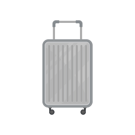 Cartoon icon of gray plastic suitcase on wheels. Large traveling bag with telescopic handle. Object related to vacation theme. Colorful vector illustration in flat style isolated on white background.