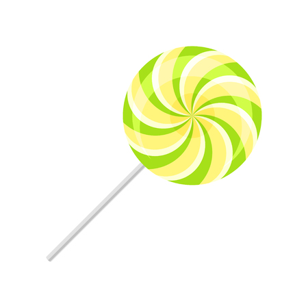Sweet lollipop, round spiral sugar candy on plastic stick vector Illustration isolated on a white background.
