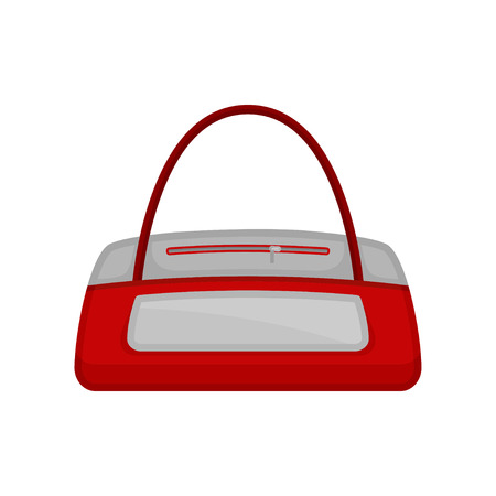 Icon of gym duffel bag in red-white color. Bag for carrying sports clothes, accessories and equipment. Cartoon vector design. Colorful illustration in flat style isolated on white background. 일러스트