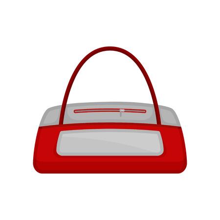 Icono de petate de gimnasio en color rojo-blanco. Bolsa para llevar ropa, complementos y material deportivo. Diseño vectorial de dibujos animados. Ilustración colorida en estilo plano aislado sobre fondo blanco. Ilustración de vector