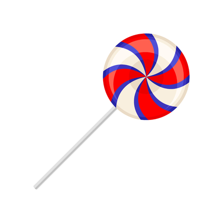 Sweet lollipop, round colorful spiral sugar candy on plastic stick vector Illustration isolated on a white background.