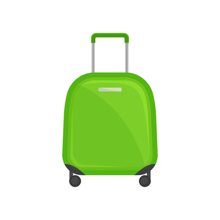 Small bright green suitcase on wheels. Travel bag with telescopic handle. Tourist baggage. Object related to vacation theme. Colorful vector illustration in flat style isolated on white background. Ilustração